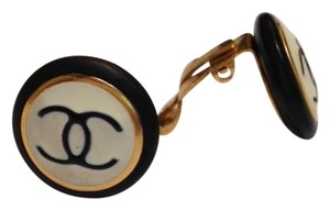 Chanel Chanel black and white clip on earrings