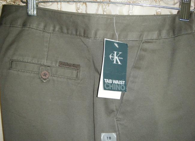 Calvin Klein Straight Pants MILITARY GREEN/BROWN