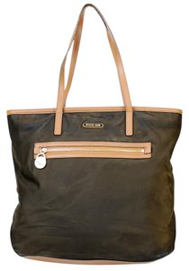 Michael Kors Nylon Leather Mk Tote in Brown