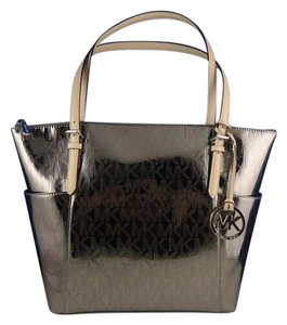 Michael Kors East West Tote in Nickel