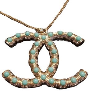 Chanel Chanel CC Logo Turquoise Crystal Pale Brushed Gold Pendant necklace