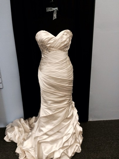 Allure Bridals Ivory Satin 8809 Modern Wedding Dress Size 10 (M)