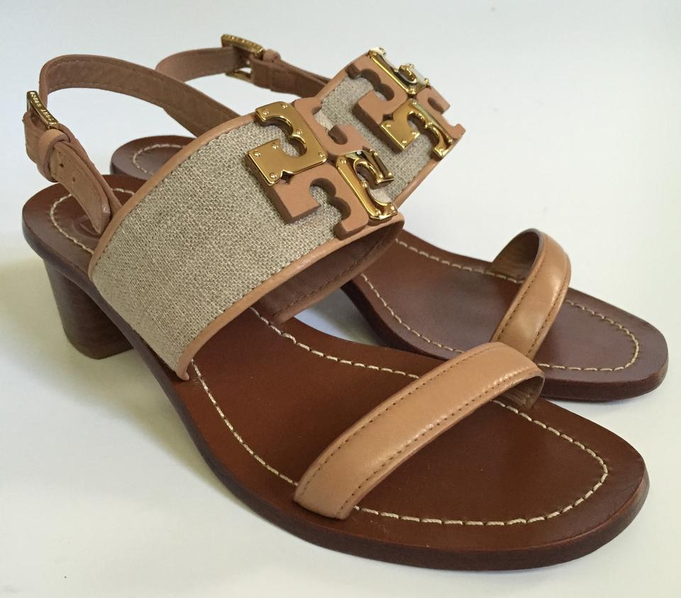c1f258668 Tory Burch Natural Blush In Box Lowell Leather 45mm Heel Sandals Size US  6.5 Regular (M