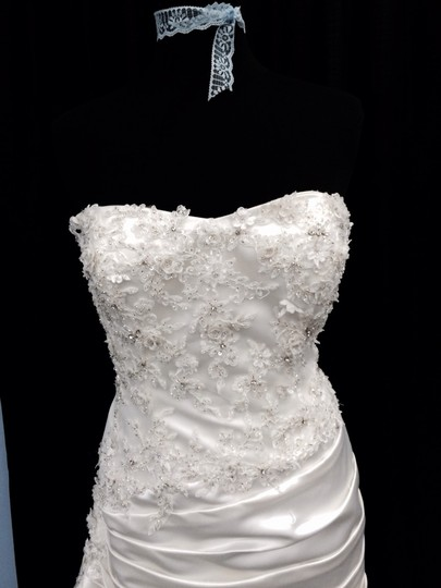 Ivory Satin and Lace Wedding Dress Size 12 (L)