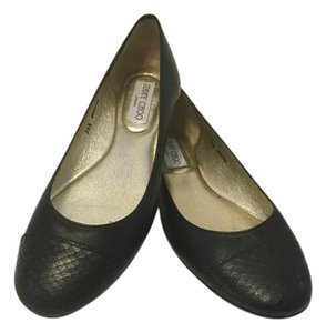 Jimmy Choo Snake Pattern Name Italian Black leather capped toe E36.5 Flats