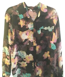 Decree Button Down Shirt Black floral