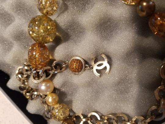 Chanel CHANEL GLASS NECKLACE/ BELT - GRIPOIX BEADS with Gold flakes CC LOGO PENDANT CHARM GOLD 99P CHAIN Image 1