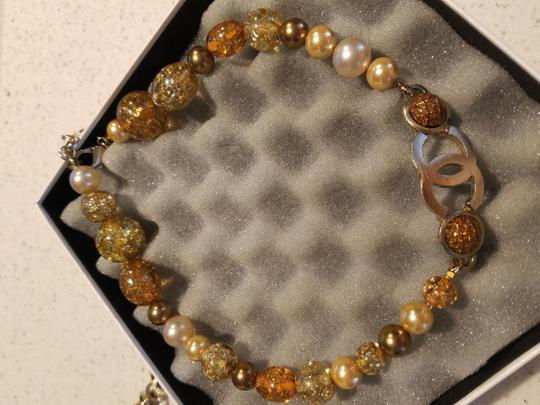 Chanel CHANEL GLASS NECKLACE/ BELT - GRIPOIX BEADS with Gold flakes CC LOGO PENDANT CHARM GOLD 99P CHAIN Image 2