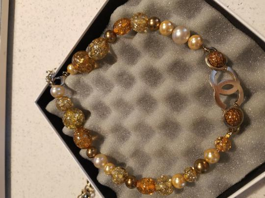 Chanel CHANEL GLASS NECKLACE/ BELT - GRIPOIX BEADS with Gold flakes CC LOGO PENDANT CHARM GOLD 99P CHAIN Image 5