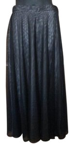 Adrianna Papell Sheer Mesh Nylon Ball Gown A-line Skirt Black