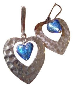 Murano Sterling silver Murano glass heart earrings