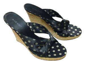 Nine West Black White polka dots Wedges
