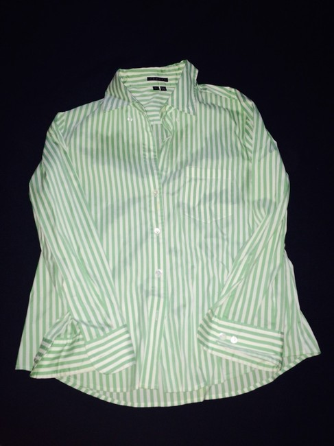 Theory Button Down Shirt Mint Green And White