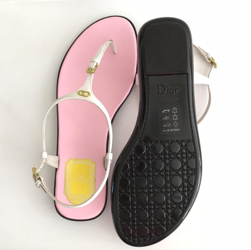 a17814bb375 Dior White Lagoon Patent Leather Logo Thong Sandals Size US 8 Regular (M