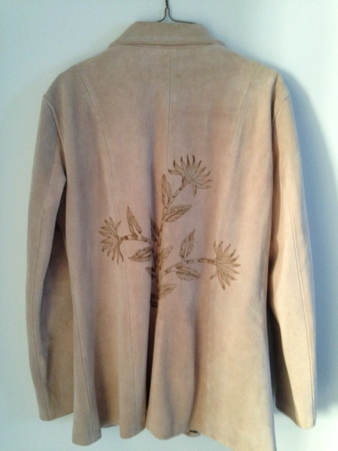 Other Suede With Etched Design Of Plant tan Leather Jacket