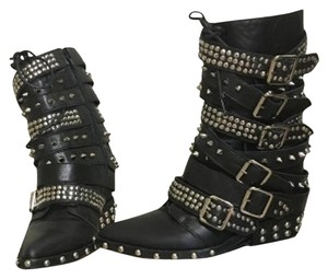 Jeffrey Campbell Studded Hidden Wedge Strappy Draco Black Boots