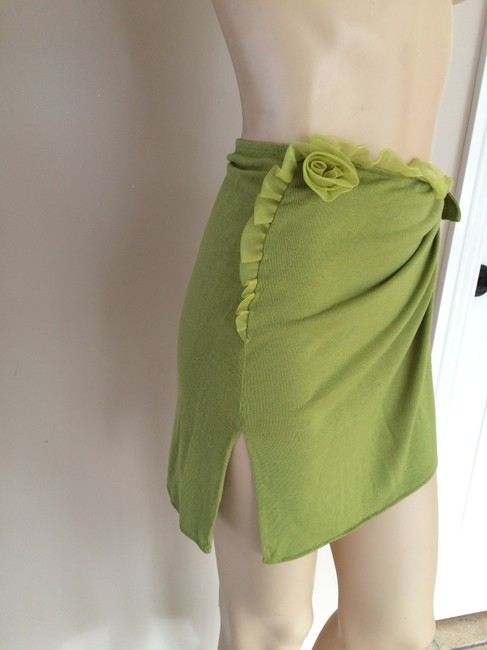 La Perla Authentic LA PERLA beachwear olive green skirt/cover up with chiffon flower, SIZE 44 (6-8), in mint condition