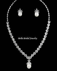 Bella Tiara Gorgeous Cz Pearl Drop Wedding Jewelry Set