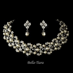 Bella Tiara Silver Ivory Wedding Pearl Jewelry Set