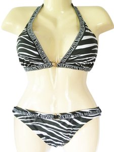 BCBGMAXAZRIA NWT Animal Print Halter Top & Belted Hipster Bikini Swimsuit Set Sz L
