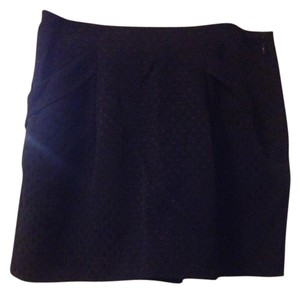 Forever 21 Polka Dot Pleated Mini Mini Skirt Navy Blue