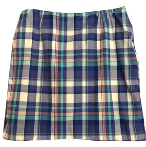 L.L.Bean L.l. Bean Plaid Cotton Skirt Blue, multi