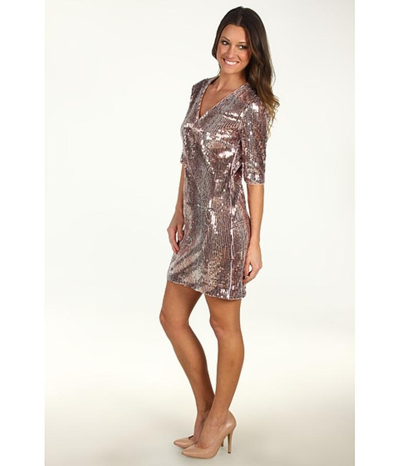 Donna Morgan Copper Multi Samantha V-neck Three-quarter Sleeve ...