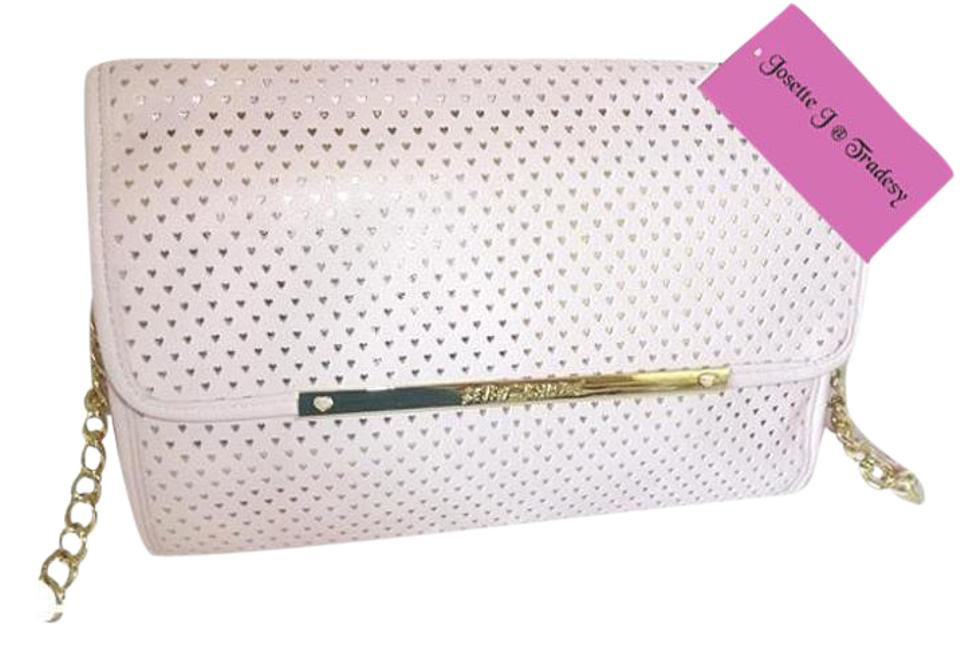 8a1519338 Betsey Johnson Flap Perforated Hearts Blush Faux Leather Cross Body ...