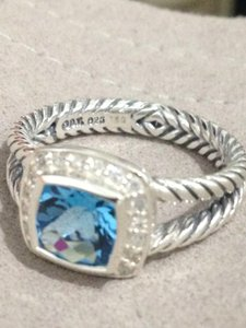 David Yurman Blue Topaz Petite Albion Ring