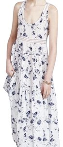 White and Blue - floral pattern Maxi Dress by Rebecca Taylor