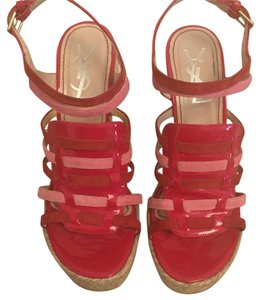 Saint Laurent Pink and Red Wedges