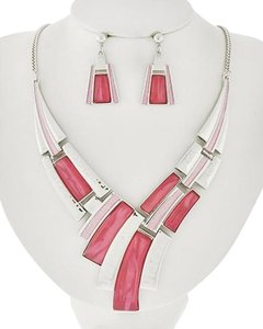 Other Pink Acrylic Necklace & Earring Set