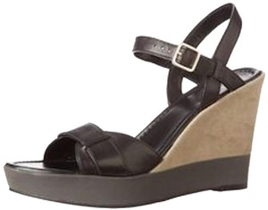 Cole Haan Paley Sandstone Wedge Nude Black Khaki Tan Suede Sandals