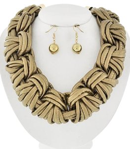 Other Gold Braided Gold Leatherette Necklace & Earring Set