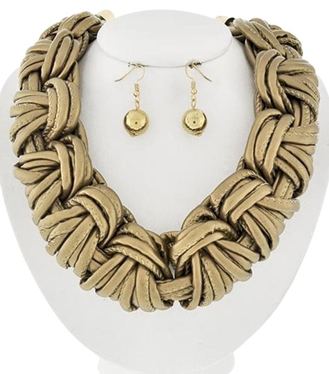 Other Gold Braided Gold Leatherette Necklace & Earring Set Image 0
