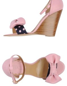 RED Valentino Valentino Leather Dot Casual Pink and polka dots Wedges
