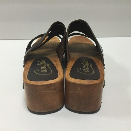 Candie's Boho Wood Mule Made In Brazil Leather Strappy Size 7 Brown Sandals