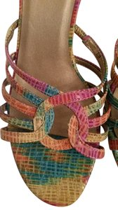 Vaneli Pink Yellow Green Multi Colored Snake skin texture Sandals