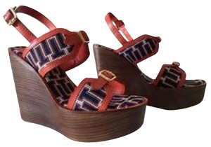 Tory Burch Navy/red/white Wedges