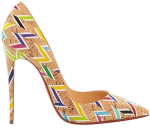 Christian Louboutin Heels Stiletto So Kate Cork Chevron Multi Pumps