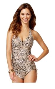 Calvin Klein Collection Calvin Klein Snake Print 3 Pieces Set-Halter Tankini tops, Side Tie bottoms & Cover-Ups