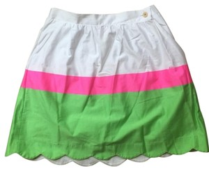 Lilly Pulitzer Colorblock Mini Skirt Pink White Green