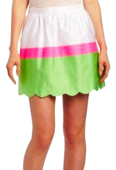 Lilly Pulitzer Colorblock Mini Skirt Pink White Green Image 1