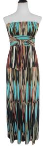 Multi Color Maxi Dress by Donna Morgan Maxi Stretchy Resort Summer Strapless