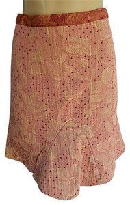 True Meaning Textured Poly Blend Polkla Dots Fancy Lining New Mini Skirt Pale Red