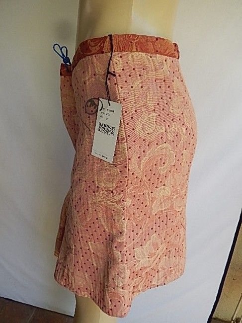 True Meaning Textured Poly Blend Polkla Dots Fancy Lining New Mini Skirt Pale Red Image 6