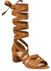 Miu Miu Gladiator Leather Sexy Tan Sandals
