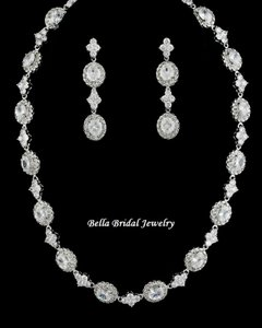 Stunning Elegant Cz Necklace And Earrings Set - Wholesale Price