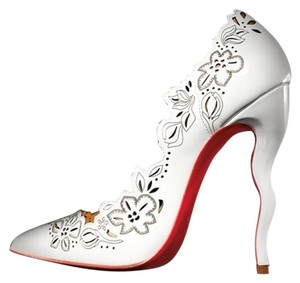 Christian Louboutin Heels Stiletto Laser Cut Wavy White Pumps