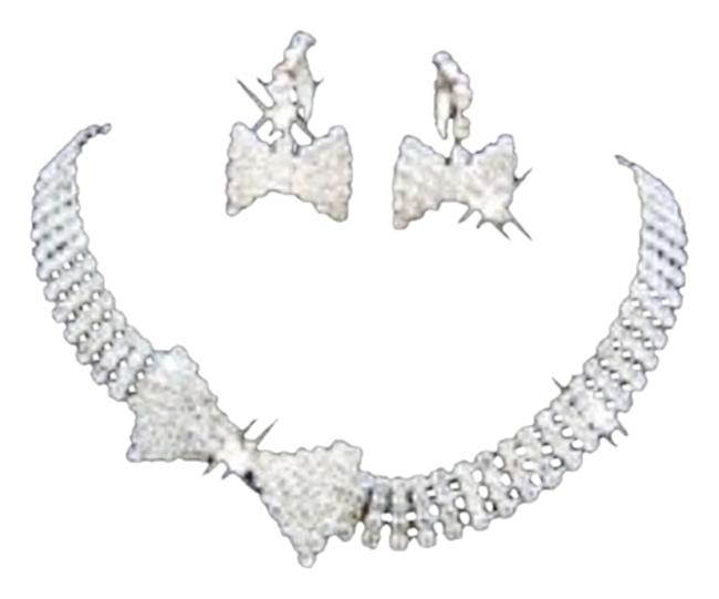 Item - Silver Butterfly Shape Rhinestone Crystal and Earrings Set Necklace